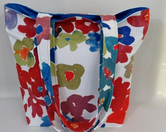 Red, Blue, White Floral, IKEA, Medium Tote, Spring Summer BAG, Small Beach BAG, Shoulder Purse, Knitting Bag