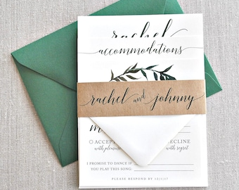 Rachel Watercolor Greenery Wreath Wedding Invitation Suite with Kraft Brown Band -  shades of forest green, black, ivory (customizable)