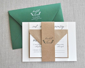 Gia Watercolor Greenery Wreath Rustic Wedding Invitation Suite with Kraft Brown Band -  shades of forest green, black, ivory (customizable)
