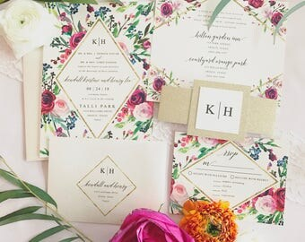 Klara Watercolor Floral Wedding Invitation Suite with Gold Glitter Belly Band