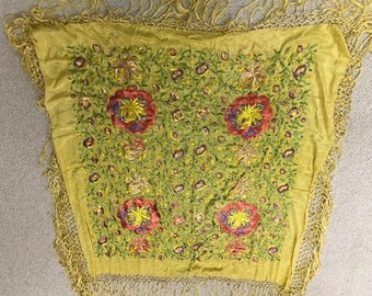 Magnificent Antique 1920's Embroidered Piano Shawl