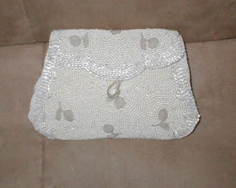 Antique 1920's White Beaded Evening Clutch Purse
