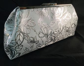 White And Silver Medium Clutch Bag