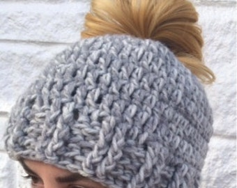 PATTERN - Messy Bun Hat Crochet Pattern - Great for the Advanced Beginner or Better