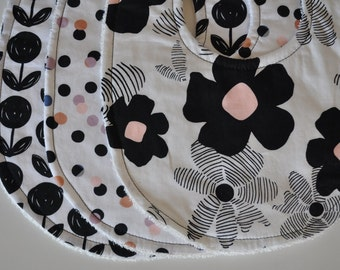 Set of 3 Baby Girl Terry Cloth Snap Bibs, Black and Pink Flowers