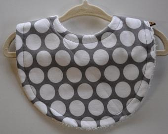 Gender Neutral Baby Gray Grey Polka Dot Terry Cloth Bib