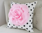 Pink pillow-Flower Pillow-Light Pink Rose Pillow on Black and White Polka Dot -gift-Nursery Pillow, Light Pink, Baby Pink Pillow- Nursery