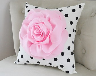 Pink pillow-Flower Pillow-Light Pink Rose Pillow on Black and White Polka Dot -gift-Nursery Pillow, Light Pink, Baby Pink Pillow- Nursery