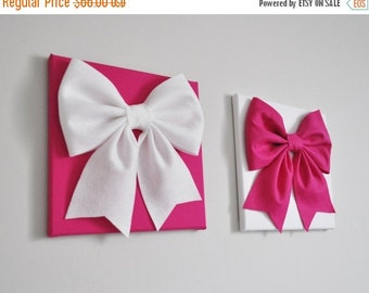 SALE Baby Girl Wall Art, Hot Pink and White Nursery, Nursery Art Canvas, Bow Art, Kids Wall Art, Customize to Your Decor