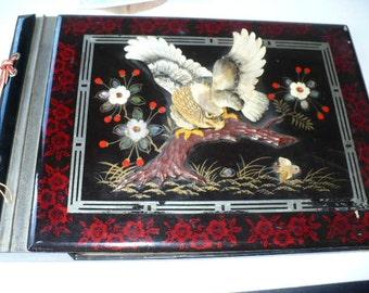 Music Box, 19th Century Japanese Black Lacquer Photo Album, Vintage Music Box, Antique, Eagle