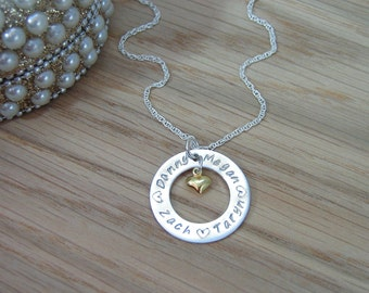 Sterling Silver Personalised Washer Ring Necklace -25mm- with Gold Heart Charm - Name / Date / Message / Phrase / Co-ordinates