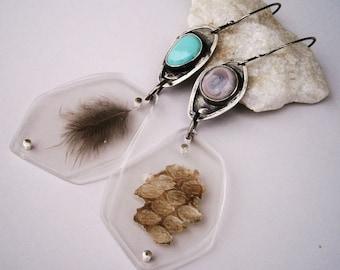 Solar Quartz Cabochon/Vintage Turquoise Cabochon/Rattlesnake Shed Fragment/Grouse Feather Specimen Contraption Earrings