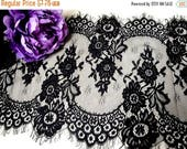 "3DAY SALE 13"" (34 cm) Wide Black Floral Lace Trim Eyelash Victorian Style Scalloped for Lingerie Scarf Mantilla Table Runner FJT2"