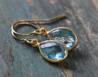 December birthstone earrings gold blue topaz earrings, gemstone dangle earrings blue, gift for her - Amy