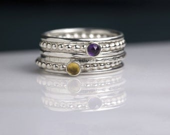 Birthstone rings stack, silver birthstone rings, silver stacking rings with birthstone, gift for mom of 2- Juliet