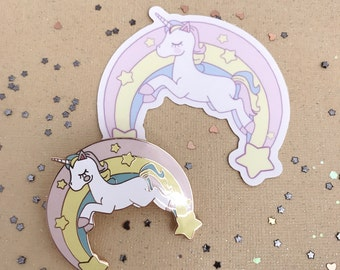 "2"" Unicorn Enamel Pin and sticker duo"