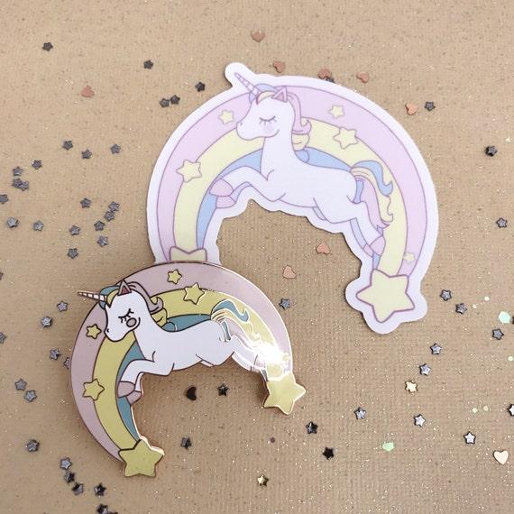 "2"" Unicorn Enamel Pin and sticker duo"