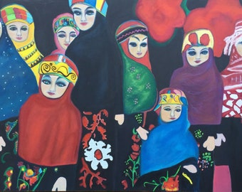 Art Ethnic Dolls,  Oil Painting by Trish Vernazza