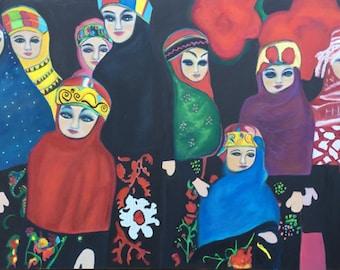 Art Ethnic Dolls,8 x10 print of original  Oil Painting by Trish Vernazza