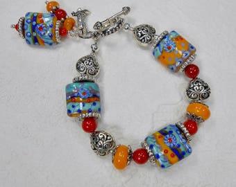 Southwest Cowgirl Bracelet - Western Bracelet - Artisan Lampwork Bracelet - Multicolor Charm Bracelet - Fiesta Bracelet - SOUTHWEST PIZAZZ