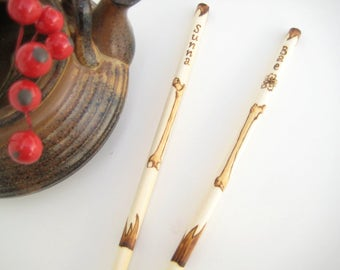 Bones Personalized Chopsticks - engraved chopsticks - Wooden chopsticks - Custom chopsticks - Korean chopsticks - Unique Chopsticks - Gift