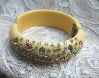 Vintage Celluloid & Rhinestone Clamper Bracelet