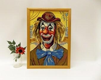 Vintage Framed Clown Portrait--- Crewel Embroidered Clown Portrait--- Clown Collectible