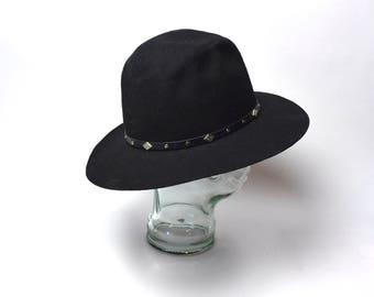 Black Wool Felt Hat with Leather Band by Dorfman Pacific, Size Medium / Wool Felt Hat
