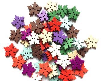 15 snowflake  buttons 18 mm assorted colours- mixed pack