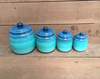 One Turquoise Ómbre Kitchen Canister - Ombre Gradient - Shades of Teal