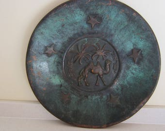 1950's Old Israeli Copper Plate Vintage Souvenir Collectibles Wall Decor Judaica Israel Camel Turquoise on Copper