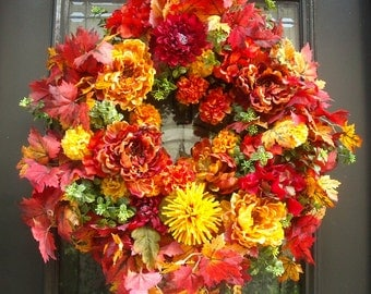 Fall Wreaths For Front Door, Fall Wreath, Thanksgiving Wreath, Autumn Wreath, Floral Door Wreath, Harvest Decor, Fall Leaves