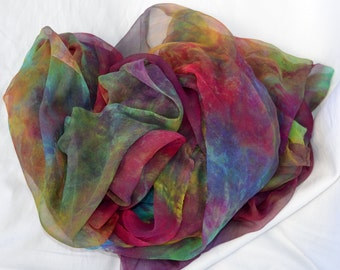 Silk Fabric , Silk Gauze Fabric , Hand dyed Silk Fabric, Ready to ship, 78 x 42 inches, Made in Australia by SallyAnnesSilks G37