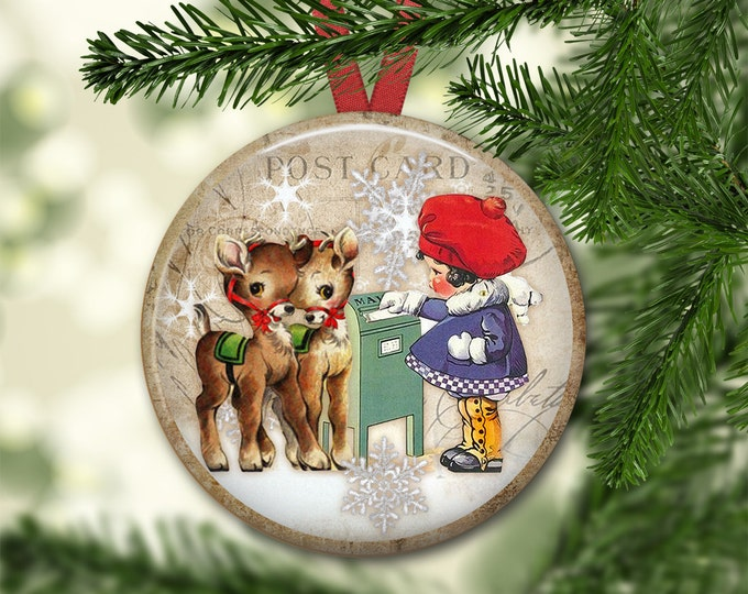 Reindeer ornaments for Christmas tree - Reindeer Christmas decorations for the tree - holiday refrigerator magnets - MA-1337