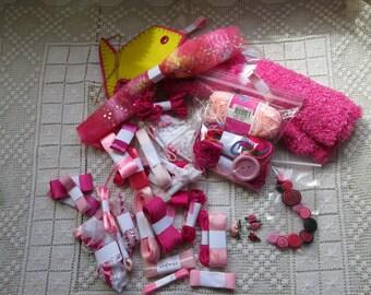 PINK sewing notions (USA) or Haberdashery (UK) Grab Bag