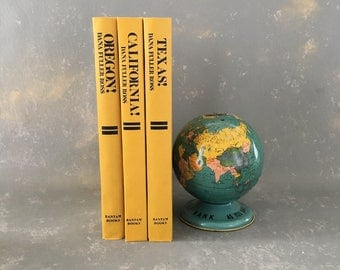 Vintage Yellow Books, Hardback, Instant Collection, Props, Home Decor, state, fiction decorative, set