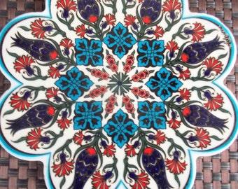 Vintage Arnicea Iznik Turkish Ceramic Tile Trivet with Floral Design