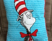 """Child's Pillow - Dr. Seuss Cat in the Hat Flannel and Bright Red Dimple Minky, 14"""" X 12.5"""""""