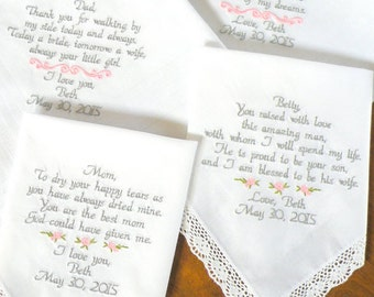 Set of 4 Embroidered Wedding Handkerchiefs Wedding Day gifts for mom dad mother inlaw father in-law Wedding Gift Family by Canyon Embroidery