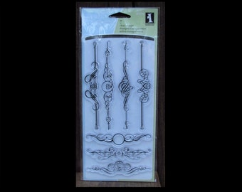 Ornate Flourish Stamps, Divider Bar Stamps, Clear Stamps, Cling Stamps, Rubber Stamps, Flourish Stamps, 7 Cling Stamps, Inkadinkado Stamps