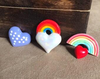 Vintage 80's Flair, Vintage Heart Pin, Vintage Rainbow Pin, Heart Rainbow Brooch Set of Three, Heart Shaped Pins, Rainbow 80's Jewelry