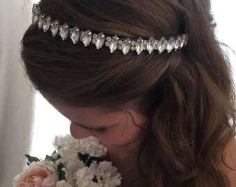 Headband Bridal- Bridal Headband - Rhinestones Headband--Bridesmaid Headband- Flower Girl Headband- Prom Headband