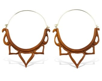 Pointed Crowns - Tribalstyle Wood Earrings with Silver