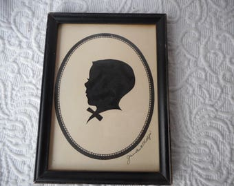 Vintage Silhouette of Young Boy-Signed