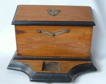 Antique Wood Letter Holder Box Desk Tidy for Inkwell Pen rest Metal Decor