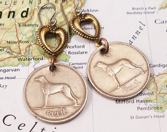 Ireland, Vintage Coin Earrings -- Dogs Rule ---  Irish Wolfhounds - Dog Lover - Best Friend - Puppy Love - World Traveler - St Patrick's Day