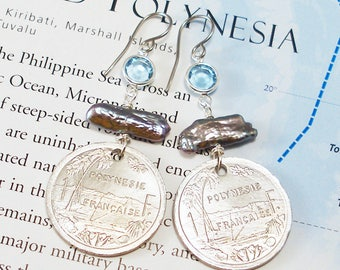 French Polynesia, Authentic Coin Earrings -- Exotic Paradise -- Beach Vacation - Tropical Island - Oceana - OOAK - Travel Charms