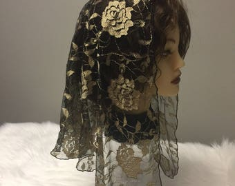 Black Copper goldesh rose lace net Headcovering - Church or Chapel veil mantilla scarf - floral - NEW -wrap