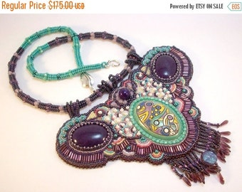 Holiday Sale Purple and Aqua Bead Embroidered Necklace The Forest Has Eyes