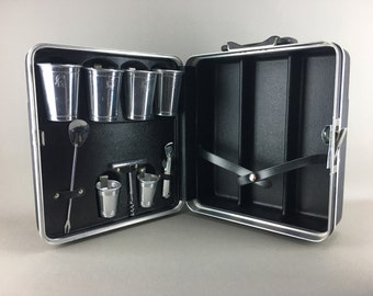Bar Luggage Case, For First Class Travel, Wonderful, Trav-L-Bar, 1960's Mad Men Chic, Black and Silver, Platt, Trojan Head Aluminum Cups